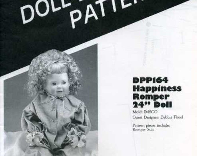 "FREE US SHIP Poissot Doll Dress Pattern Retro 1980's dpp 164 romper 24"" Doll Sewing Pattern Insert From Dollcrafter Vintage Magazine"