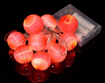Red Silk Ball String Light - RU6927-RD