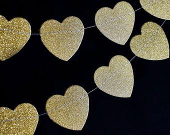 Glitter Heart Shaped Paper Garland Banner (10FT)