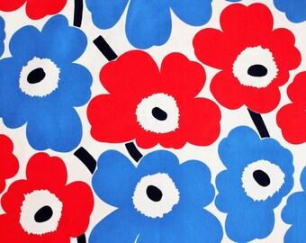 Marimekko fabric, red/white/blue Pieni Unikko, 165 x 50cm, special edition