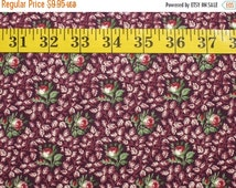 Back to School Sale Civil War Fabric, Burgundy Roses, Sold BTY