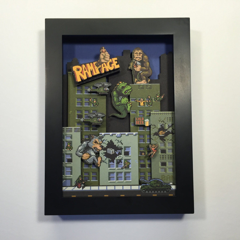 Rampage Arcade Game 3d Shadow Box 5x7 Mini Edition