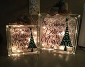 """Personalized """"Believe in the Magic!"""" Christmas lighted box."""