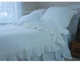 Natural linen White ruffle duvet cover, linen bedding, ruffle bedding, shabby chic, available queen linen king linen bedding