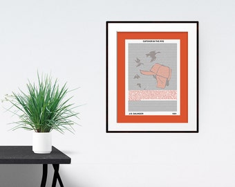 Catcher in the Rye, Poster Print, Literary Print, Quote Poster, Literary Art, Free Shipping
