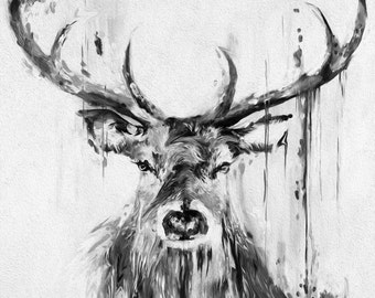 A0 Large Stag Elk Deer Print Canvas  Art Painting not framed