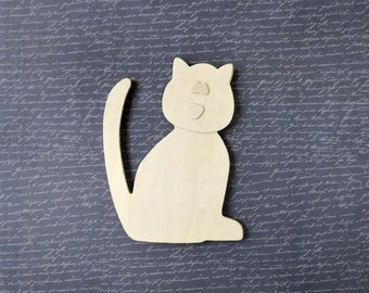 Set of Four Adorable Unfinished Wood Cat Cutouts