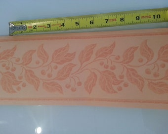 VINTAGE Wallpaper BORDER by Hill & Knowles Peach Vine and Berry 11 YARDS!
