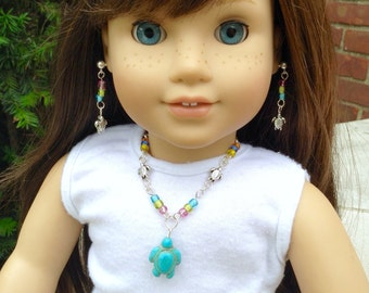 """Turtle and multicolor seed beaded jewelry set for American Girl Lea Clark and other 18"""" dolls"""