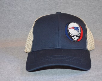 New England Grateful Dead --Steal Your Patriots on Pacific Blue color Trucker Hat ----FREE Shipping----