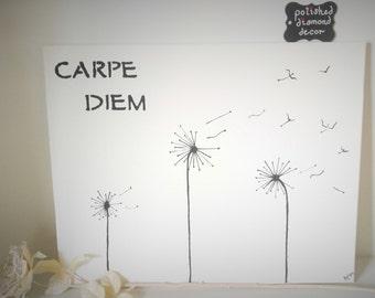 Wall Art - Carpe Diem - Dandelions - Birds - Black and White Wall Art - Canvas Painting - Dandelions in the Wind - Dandelions to Birds