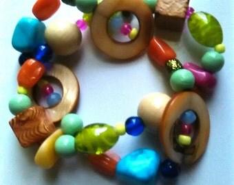 Coconut & Wooden Beaded Bracelet Set Bohemian Layering Beads Glass Beaded Stretch Bracelet Set