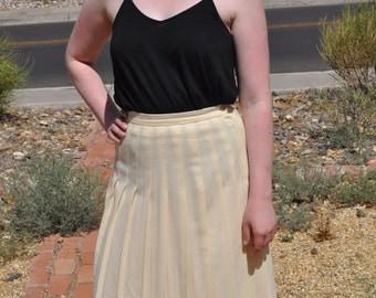 Vintage 1970s Cream Michele Wool Pleated Skirt