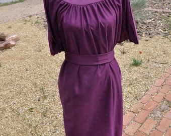 Back to School Sale!**** Vintage 1980s Anthony Richards Purple Tie Waist Dress
