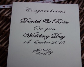 Congratulations on your wedding day, Personalised wedding day card,  wedding card, wedding, wedding day, congratulations