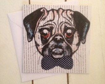 Pug Greeting Card, Blank for any occasion