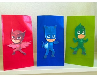 12 Pj Masks 3 characters party bags- Pj Masks party favors- Pj Masks treat bags - Pj Masks gift bags- Pj Masks Birthday-Pj Masks theme Party