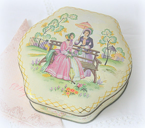Lovely Vintage Tin with Victorian Age Women and Flower Decor