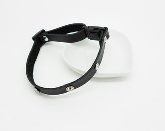 black leather with Rhinestone dog collar