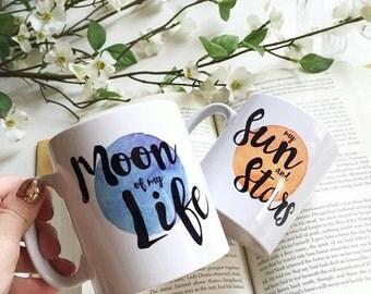 Game Of Thrones Inspired Mug Gift Set - Khaleesi and Drogo themed mugs - Moon - Sun and Stars