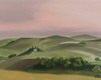 Landscape Painting, 14 x 11, Oil Painting, Original Art, Tuscany Painting, Italy Painting, Countryside painting, Tuscan Villa Painting