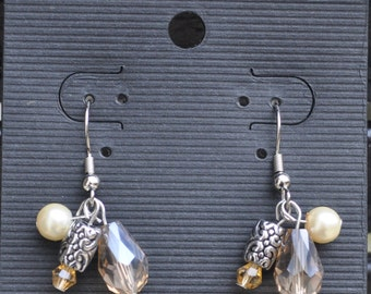 Handmade Brown and Cream Dangle Earrings