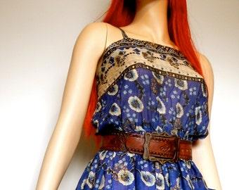 1970's Indian Cotton Floral Print Summer Dress Size - 8