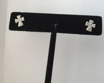 925 Sterling Silver Cross Stud Earrings with Micro Pave