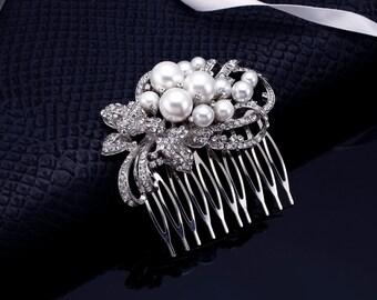 Pearl Comb, Rhinestone Comb, Bridal Comb, Wedding Comb, Wedding Hair Comb, Bridesmaids Comb, Crystal Comb, Pearl Bridal Comb, Crystal Comb