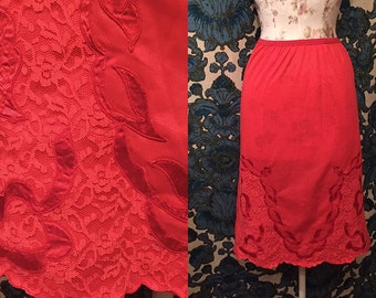 Vintage 1950s Red Half Slip with Lace and Embroidered Detail Pin Up Burlesque Retro