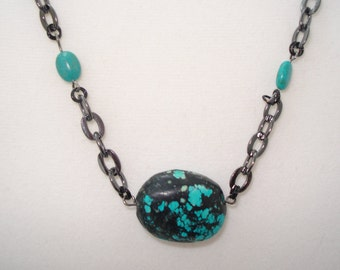 Genuine Turquoise Beaded Necklace on Gunmetal Chain 22""
