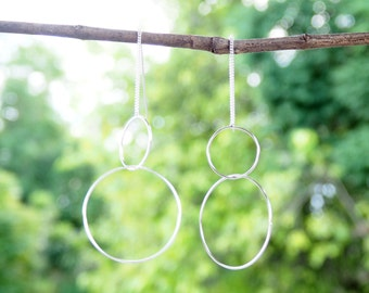 Hoop Threader Earrings 925 Sterling Silver, Circle Earrings, Gift for her, Karma Earrings, Minimal Jewelry - MI.22