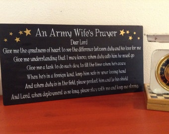 An Army Wife's Prayer - Military Wife Prayer - wooden sign - Deployment - Strength - Sacrifice - military separation - Army, Navy