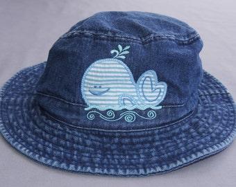 Infant Bucket Hat, Toddler Bucket Hat, Child's Bucket Hat, Sun Hat, Beach Hat, Pool Hat, Whale Applique