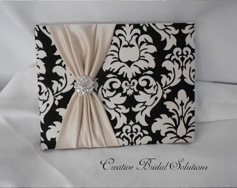 Black and Ivory Damask with Champagne  Wedding Guest Book, Damask guest Book