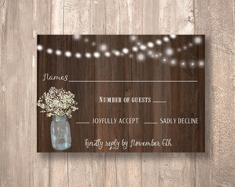 "Rustic RSVP Card with Mason Jar and Baby's Breath 3.5 x 5"" - PRINTABLE - Digital File"