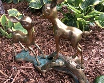 Oh My Deer Large Vintage Brass Deer Statue - Bambi and Friend - Huge Doe and Fawn Brass Animal Sculpture - Vintage Brass Deer on Log