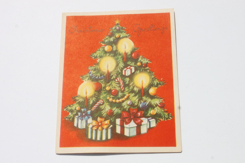 Vintage Unused Christmas Tree Card Old Fashioned Christmas