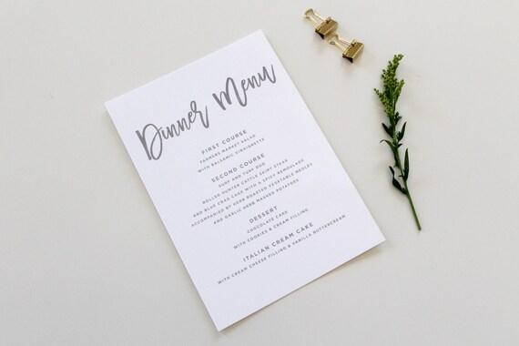 Calligraphy wedding menu dinner