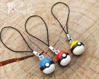 Red strap Pokémon Go yellow or blue (fimo) geek pokeball laptop gri gri jewelry team