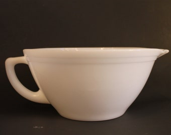 Federal Milk Glass Batter Bowl Mixer Spout Pour Bowl