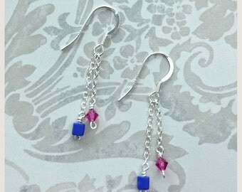 no.75 Double Stranded Sterling Silver earrings with Pink Swarovski Crystal