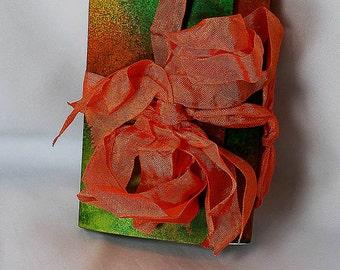 Handmade Orange Green Travel Journal - Art Journal - Orange Journal - Green Journal - Mixed Media Journal - Mixed Media Travel Journal