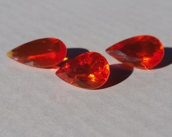 Natural Mexican Fire Opal Pear Set 3.40ct