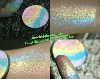 Mermaid Fantasies Jumbo 59mm, 44mm, 37mm size WITH Compact  Pastel Rainbow Duochrome  Highlighter.