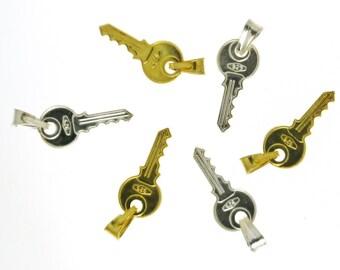 2 Sterling Silver Padlock Charms, Key Charm, Key pendant
