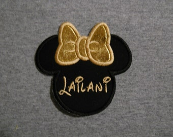 Made to order ~ Personalized Gold Miss Mouse iron on or sew on applique patch