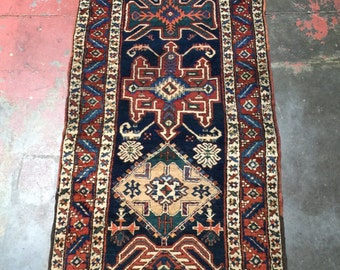 "Antique Persian Runner Rug 3'3"" x 11'8"" Bold Nomadic Beauty c.1914"