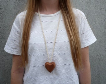 3D Wooden Heart Necklace