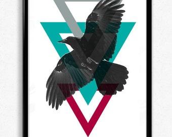 Printable Wall Art, Geometric Bird